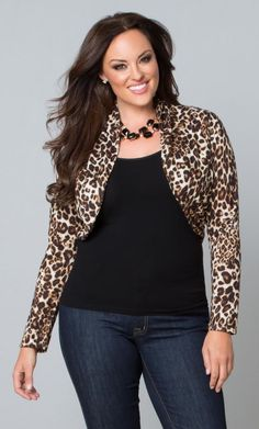 Animal print is very trendy and adds a note of sexy to an outfit. Also, the shape of this shrug define your chest and draws the eye up toward your neck. Plus Size Key Note Shrug Plus Size Tips, Trendy Plus Size, Plus Size Women, Fall Fashion Trends, Autumn Fashion, Plus Size Dresses, Plus Size Outfits, Plus Size Hairstyles, Plus Size Fall Outfit