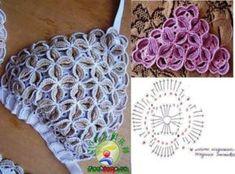 Crochet Bikini Pattern, Crochet Motif, Crochet Flowers, Free Crochet, Diy Crafts Knitting, Diy Crafts Crochet, Crochet Projects, Tops Tejidos A Crochet, Crochet Blouse