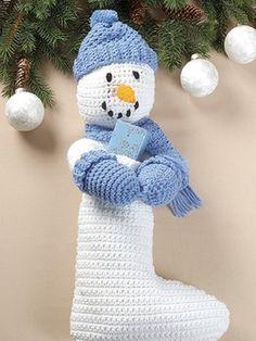 Crochet an adorable snowman stocking