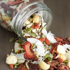 Strawberry-Goji Muesli-- You really only have to dehydrate the strawberries. Or you can dry them in an oven .