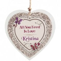 Personalised Butterfly Gem Wooden Heart Decoration