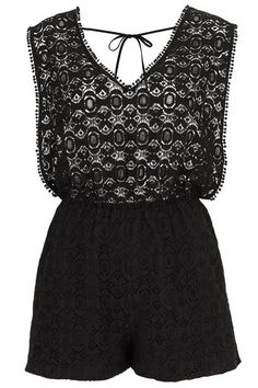 Topshop  Lace Playsuit Cover Up - Lyst