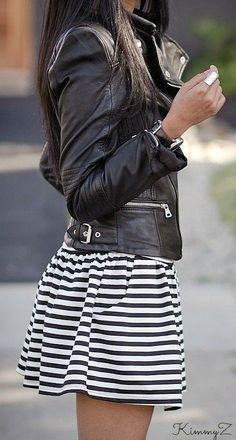Leather and stripes make a great combo :)