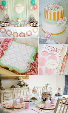 love the colors except maybe not gold  Shabby Chic  Via Karas Party Ideas KarasPartyIdeas.com