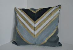 Modern hand drawn pillow with stripes and lines by OeDesign