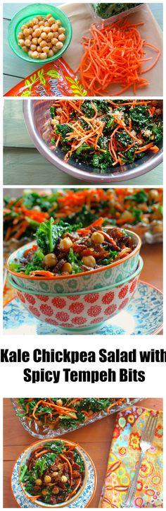 Kale & Chickpea Salad with crunchy tempeh bits #vegan #vegetarian #kale…