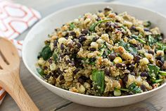 How to Make a Boxed Side Dish Into a Meal: quinoa, spinach, beans, corn, caramelized onions, smoked paprika