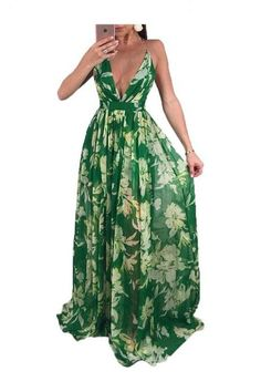 f4bbea1891de Sexy Deep V Backless Beach Maxi Dress Women Summer Chiffon Tunic Holiday  Floral Print Long Dress
