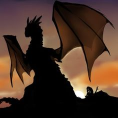 Dragon in silhouette