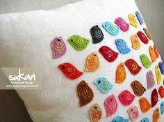 Custom Made Sukan Colors Birds Linen Pillow Cover door sukanart