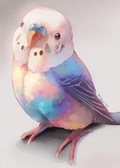 Ideas Cute Art Drawings Animals Artists For 2019 Cute Animal Drawings, Bird Drawings, Kawaii Drawings, Cute Drawings, Pet Anime, Anime Art, Arte Sketchbook, Bird Illustration, Animal Illustrations