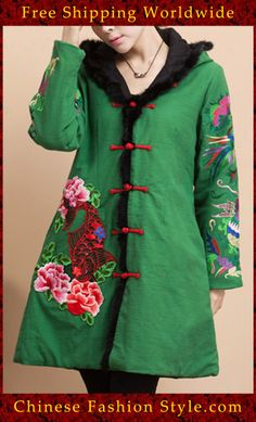 100% Handmade Linen Cotton Blouse Shirt Top - Oriental Chinese Embroidery Art #125 http://www.chinesefashionstyle.com/jackets-blouses/