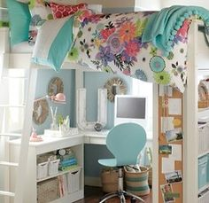 Cool idea for a teen room: bed, desk and storage all in one!
