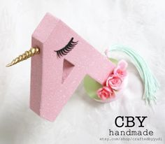 Unicorn Monogram Letter or Number  PINK GLITTER by CraftedByYudi