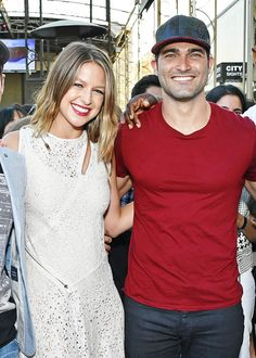 melissa benoist and tyler hoechlin attend the srsly superpower hour with buzzfeed and the cw at san diego comic-con, july 22nd