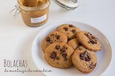 Receita de Bolachas de Manteiga de Amendoim  #recipe #cookies #peanutbutter #chocolate #healthy #fit #snack
