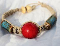 Hemp Bracelet  Handmade Red Turquoise by LaurasCozyCottage on Etsy, $7.00