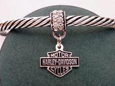 Harley Davidson Charm Womens Cuff Bracelet Dangle Charm Rhinestone