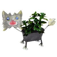Uh-Oh Kitty Recycled Metal Planter at The Animal Rescue Site