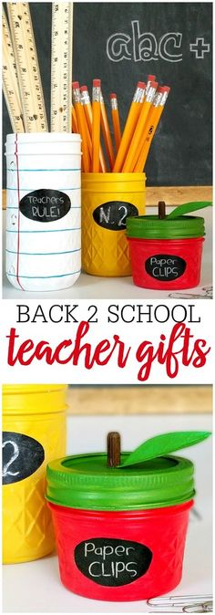 Mason Jar Teacher Gift Idea - a simple and cute DIY project that will make for a gift your kiddos' teachers will LOVE! See it on { lilluna.com }