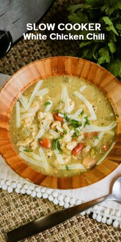 This Slow Cooker White Chicken Chili Recipe is so easy and the resulting meal is delicious! Hearty and tasty with a mild spice. #whitechicken #chilirecipe #foodanddrinkchili Slow Cooker Chili, Best Slow Cooker, Slow Cooker Recipes, Crockpot Recipes, Easy Chicken Dinner Recipes, Pork Recipes, Easy Meals, Easy Recipes, Savoury Dishes