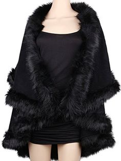 e8d4a34587 Womens Faux Fur Cape Coats Dress Plus Size (Black) Winfunup https