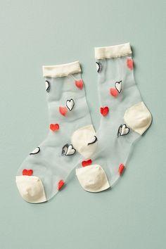 Slide View: 1: Heartfelt Sheer Crew Socks