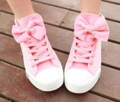 High help bowknot canvas shoes