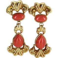 Red Coral Door Knocker Earrings Vintage 18 Karat Yellow Gold Estate Fine Jewelry