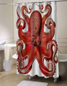 Haeckel Octopus Red shower curtain customized design for home decor #showercurtain #showercurtains #shower #curtain #curtains #bath #bathroom #home #living #homeliving #cutecurtain #funnycurtain #decorativeshowercurtain #decoration