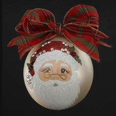 Sarabella Hand-Painted Santa Claus Face Gold Glass Ball Christmas Ornament 4""