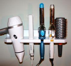 Blow dryer curling flat hair tool iron brush by northwoodscrafts Hair Tool Storage, Hair Tool Organizer, Storage Hacks, Storage Ideas, Boutique Interior, Bathroom Organisation, Tool Organization, Organizing Ideas, Bathroom Storage