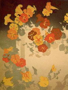 Nasturtiums - OSCAR DROEGE - color woodcut