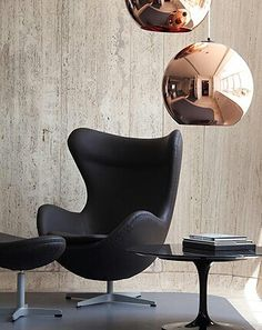 Egg Chair with Black Leather #eggchair #modern #design