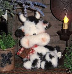 Primitive Raggedy Country Farm Cow Doll