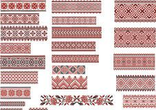 Folk Embroidery Patterns Patterns for Embroidery Stitch - Retro Technology - Set of Ukrainian ethnic patterns for embroidery stitch in red and black Hungarian Embroidery, Folk Embroidery, Learn Embroidery, Embroidery Patterns, Stitch Patterns, Chain Stitch Embroidery, Embroidery Tattoo, Embroidery Stitches Tutorial, Embroidery Techniques