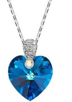Cdyle Crystals from Swarovski Women Necklace Fine Jewelry Blue Purple Heart  Crystals Pendant Necklace Charm 5290dcfc7648