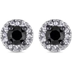 Black Diamond & White Sapphire Ear Pin Earrings (510 BRL) ❤ liked on Polyvore featuring jewelry, earrings, black, earring jewelry, white sapphire jewelry, pin earrings, polish jewelry and pin jewelry