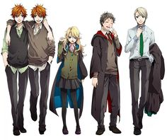 Fred and George, Luna, Neville, and Draco anime style.