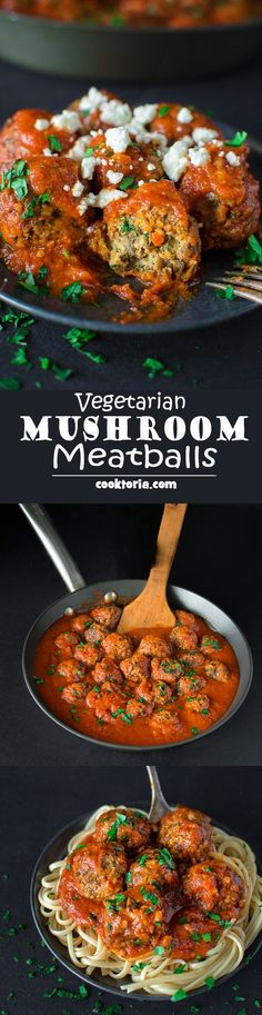 soft and moist Mushroom Meatballs are simple to prepare and make a perfect vegetarian dinner!COMThese soft and moist Mushroom Meatballs are simple to prepare and make a perfect vegetarian dinner! Veg Recipes, Whole Food Recipes, Cooking Recipes, Healthy Recipes, Chicken Recipes, Hamburger Recipes, Flour Recipes, Turkey Recipes, Simple Vegetarian Recipes