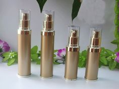 20Ml 30Ml Airless Bottle Electroplate Gold Pump Cosmetic Vacuum Plastic Travel