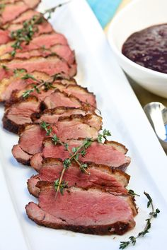 seared duck breasts with blackberry sauce... (His explanation for cooking duck makes me want to go out and buy some tonight...)