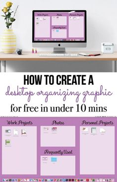 How to create a graphic to organize your computer desktop in under ten minutes for free (using Picmonkey). Includes a tutorial that walks you through exactly how to create this for yourself. organization, Organize Your Computer Desktop Office Desk Organization, Desktop Organization, Classroom Organization, Storage Organization, Printable Organization, Ms Project, Project Life, Time Management, Getting Organized