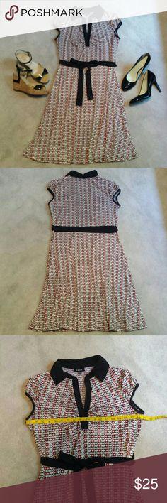 Snap Black Red White & Cream Tie Waist Dress