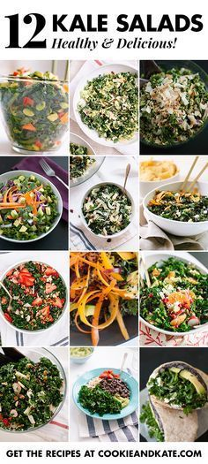 Find 12 healthy and delicious kale salad recipes at http://cookieandkate.com!