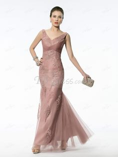 Fabulous Trumpet/Mermaid Floor-length V-neck Appliques Zipper-up Evening Dress
