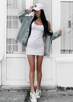 street style obsession / hat + sneakers + denim jacket + bodycon dress