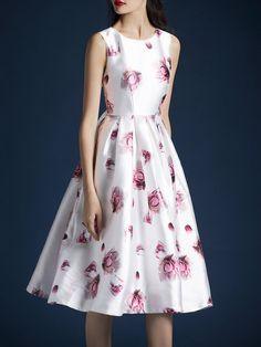 White Sleeveless Floral Crew Neck A-line Midi Dress