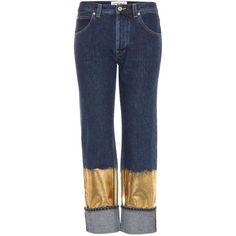 Loewe Embellished Jeans (10.085 ARS) ❤ liked on Polyvore featuring jeans, blue, loewe, gold jeans, blue jeans and embellished jeans