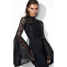 You Flare It Well Black Lace Long Bell Sleeve Mock Neck Bodycon... ($150) ❤ liked on Polyvore featuring dresses, long bodycon dress, lace fit-and-flare dresses, lace midi dress, bandage dresses and midi flare dress
